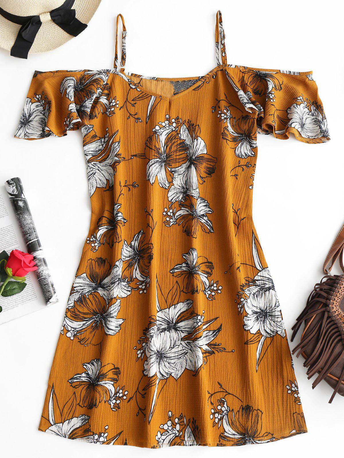 Cold Shoulder Floral Print Cami Dress