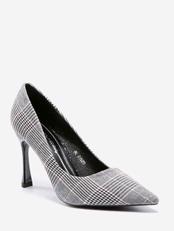High Heel Checked Cloth Pumps 246347111