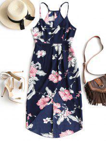 Floral Print High Waist Cami Dress - PURPLISH BLUE XL