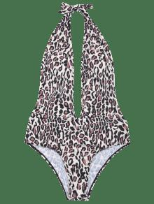 f4a9c862420dd 59% OFF  2019 Plunging Neck Leopard Print One Piece Swimwear In ...
