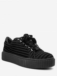 حذاء سنيكرز بأربطة من الجلد المدبوغ - أسود 38