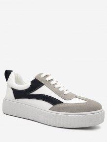 خياطة كتلة اللون أحذية رياضية - أبيض 35