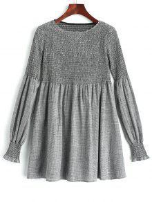 فستان تونيك منقوش سموكيد طويلة الأكمام - التحقق L