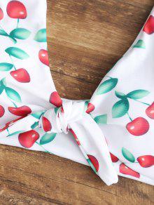 f7b18efe54 31% OFF  2019 Tied Cherry High Waisted Bikini Set In WHITE S