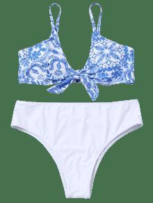 Grande De 3xl Talla Anudada Corte Porcelana De Bikini Blanco Alto qTUnnRw