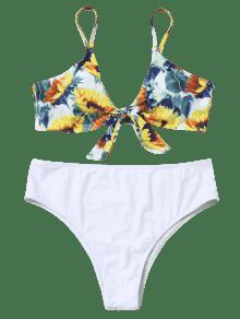 fa64d25b95 25% OFF  2019 Sunflower Plus Size Knotted High Cut Bikini In WHITE ...