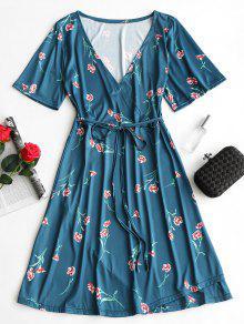 فستان كهنوتي طباعة الأزهار غارق الرقبة - أزرق أخضر M