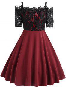 خمر الزهور الدانتيل لوحة السباغيتي حزام اللباس - نبيذ أحمر S
