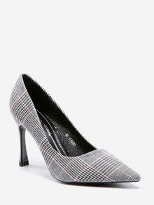 حذاء من القماش مربع النقش ذو كعب عالي - رمادي 37
