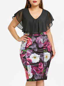 زائد حجم فستان زهرة طباعة بوديكون - 5xl