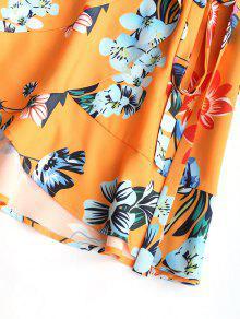 Dobladillo Con De Estampado Floral Volante De Floral Estampado S Vestido OAvqt4w
