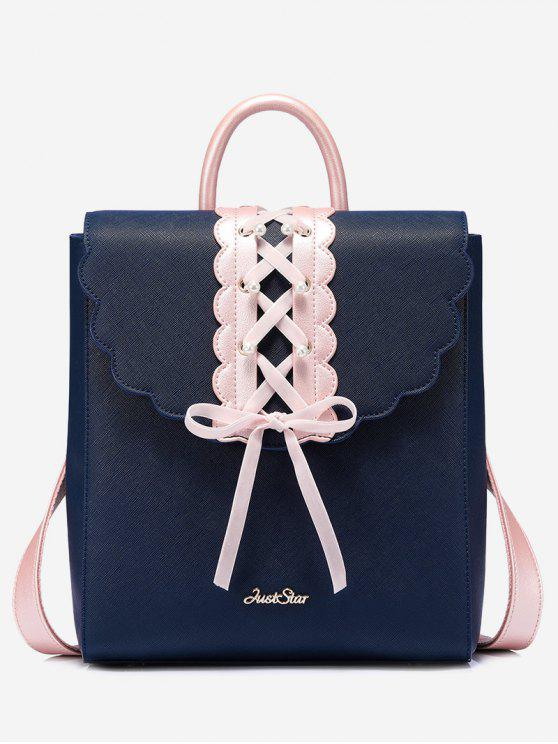 trendy Bow Criss Cross Faux Pearl Backpack - BLUE