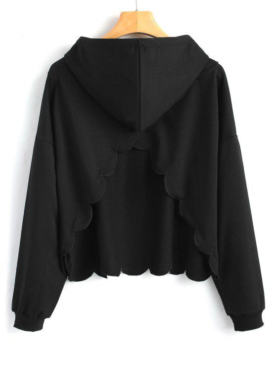 womens Cut Out Piped Scalloped Hoodie - BLACK S