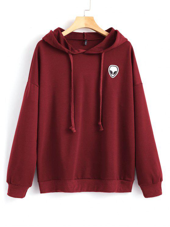 outfits Drawstring Skull Patches Hoodie - WINE RED S