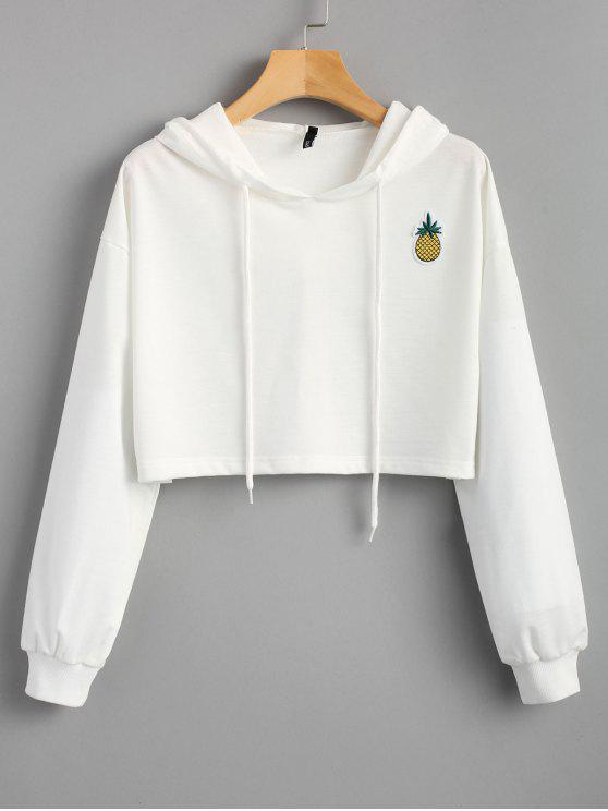 chic Cropped Pineapple Patches Hoodie - WHITE M