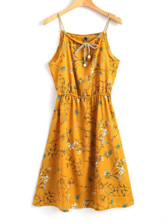 hot Faux Pearls Floral Mini Dress - MUSTARD L