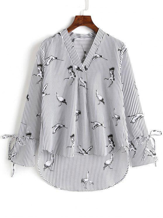 lady V Neck Striped Crane High Low Blouse - STRIPE L