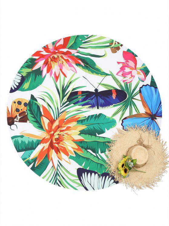 Serviette de Plage à Imprimé Plantes et Insectes - Multicolore Taille Unique