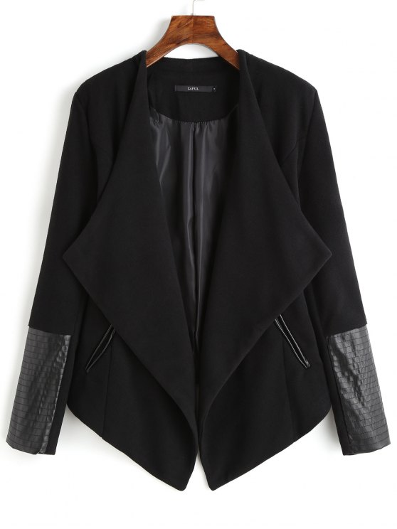 unique Faux Leather Panel Asymmetric Draped Jacket - BLACK L