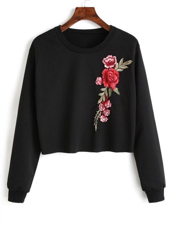 Sweat-shirt à Patchwork Floral Ras du Cou - Noir M