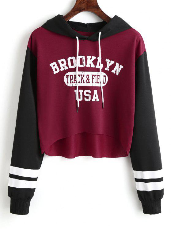 fashion Letter Graphic High Low Hoodie - DEEP RED M