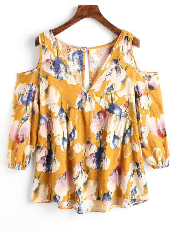 Blusa de estampado floral con hombros descubiertos - Jengibre S
