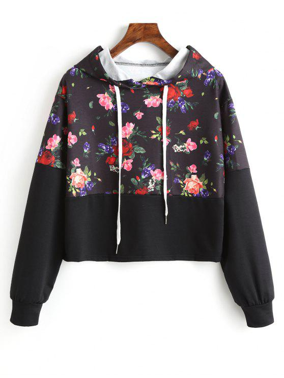 chic Flower Graphic Drawstring Hoodie - FLORAL M