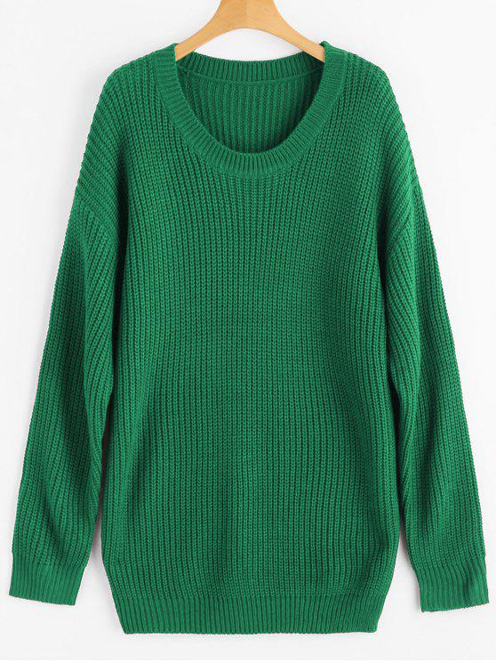 Drop Shoulder Longline Chunky Sweater GREEN: Sweaters ONE SIZE | ZAFUL