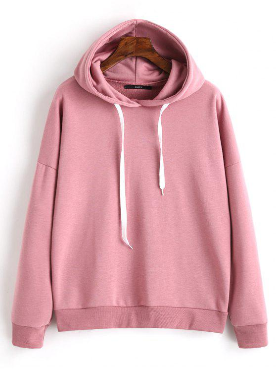 lady Drop Shoulder Plain Drawstring Hoodie - CAMEO S