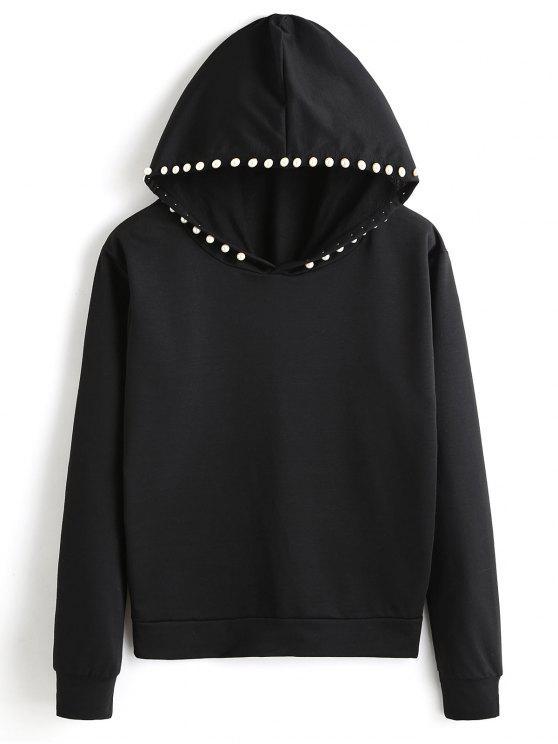 fashion Plain Beading Hoodie - BLACK S