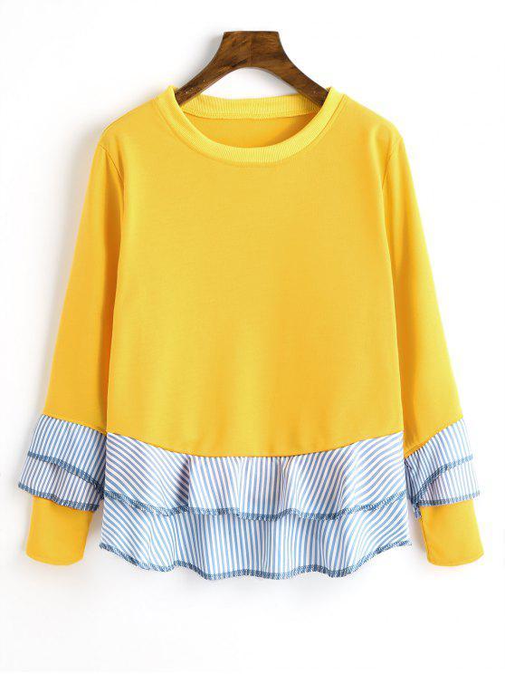 Sweat-shirt à Bord Rayé Volanté à Épaules Tombantes - Jaune XL