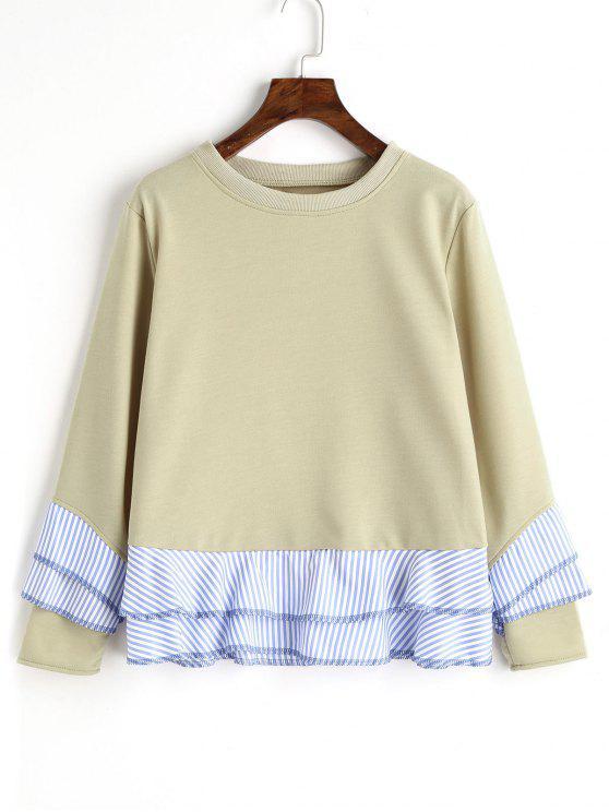 outfits Drop Shoulder Striped Ruffle Hem Sweatshirt - PEA GREEN XL