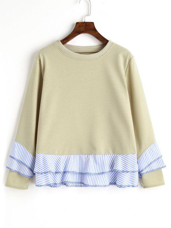 lady Drop Shoulder Striped Ruffle Hem Sweatshirt - PEA GREEN S
