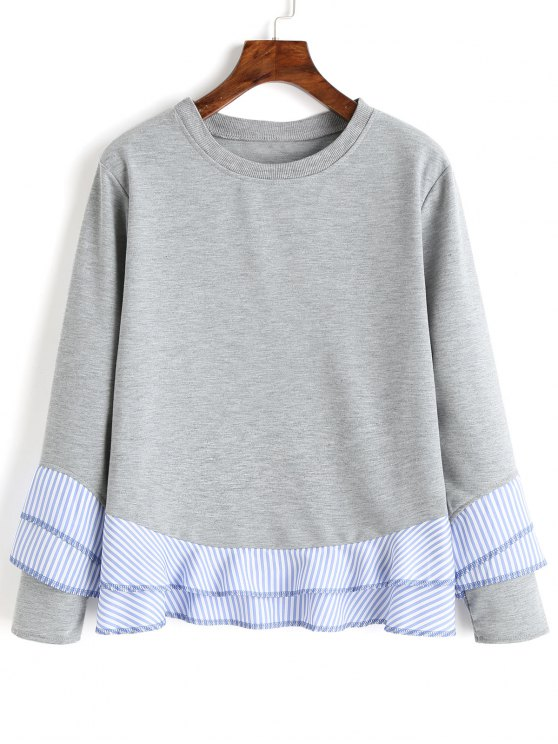 ladies Drop Shoulder Striped Ruffle Hem Sweatshirt - GRAY M