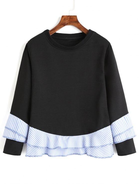 Drop Shoulder Striped Ruffle Hem Sweatshirt - Negro XL