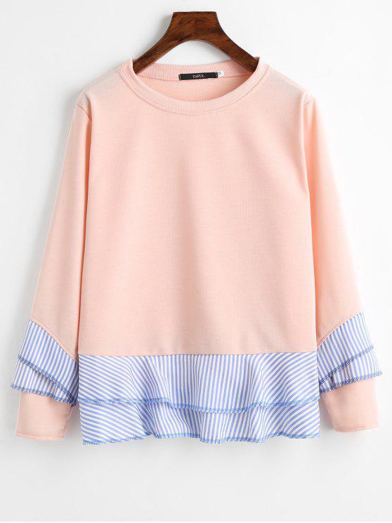 Sweat-shirt à Bord Rayé Volanté à Épaules Tombantes - Orange Rose 2XL