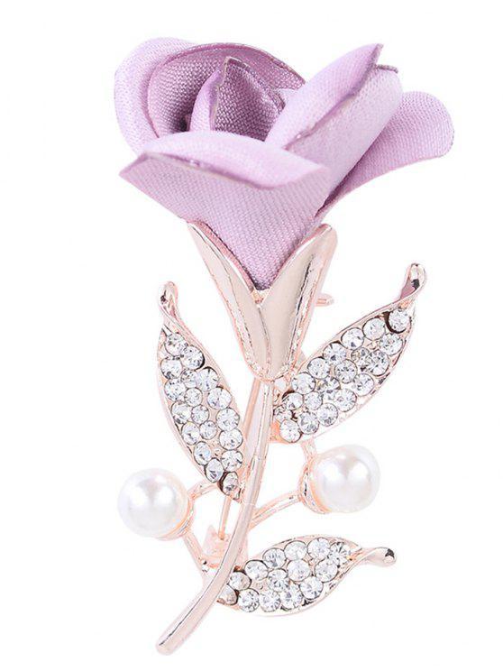 Romântico Rose Rhinestone Embellished Brooch - Roxo Claro