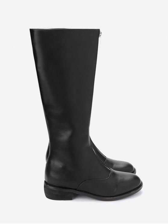 37% OFF  2019 Stivali Con Tacco Grosso In Pelle PU Con Zip Frontale ... d095eeed74a