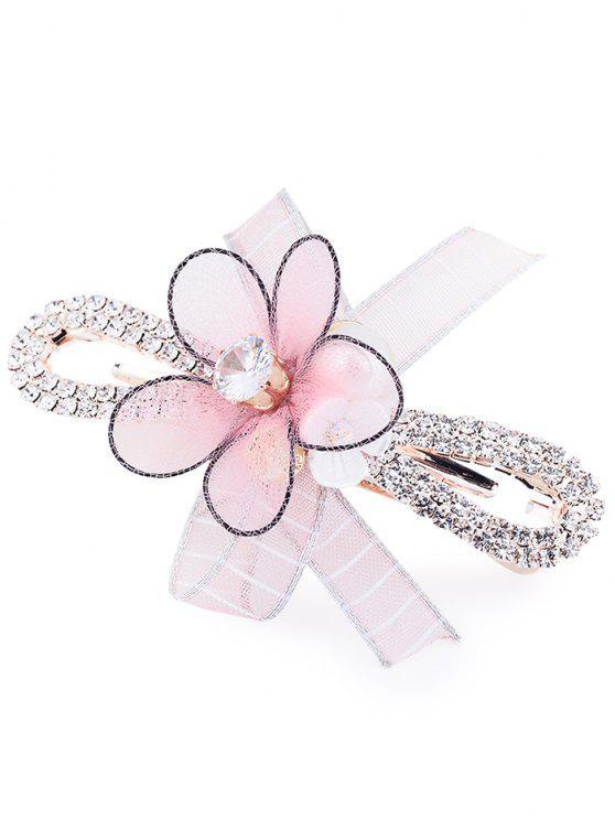 sale Floral Petal Rhinestone Embellished Barrette - PINK