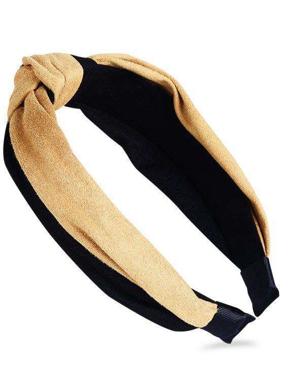 Patrón anudado adornado banda para el cabello - Amarillo