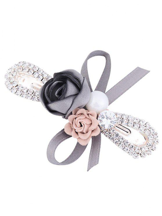 Strass Inlay Bowknot Embellished Barrette - Cinza