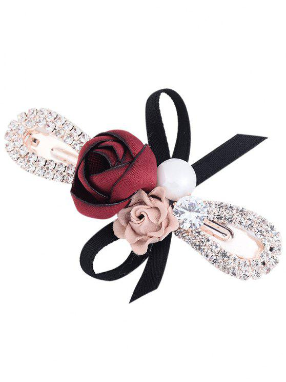 Strass Inlay Bowknot Embellished Barrette - Vermelho Escuro