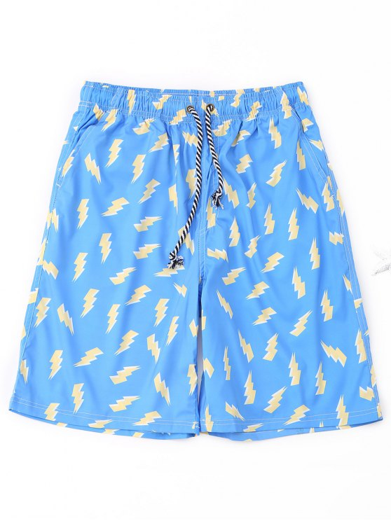 fashion Lightning Print Board Shorts - AZURE 2XL