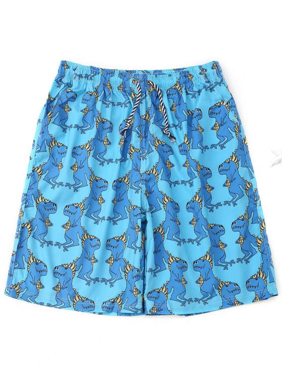 lady Drawstring Animals Print Board Shorts - LAKE BLUE XL