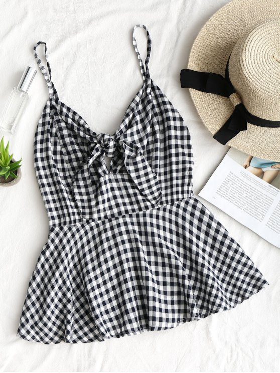 fashion Tied Ruffle Plaid Tank Top - CHECKED M