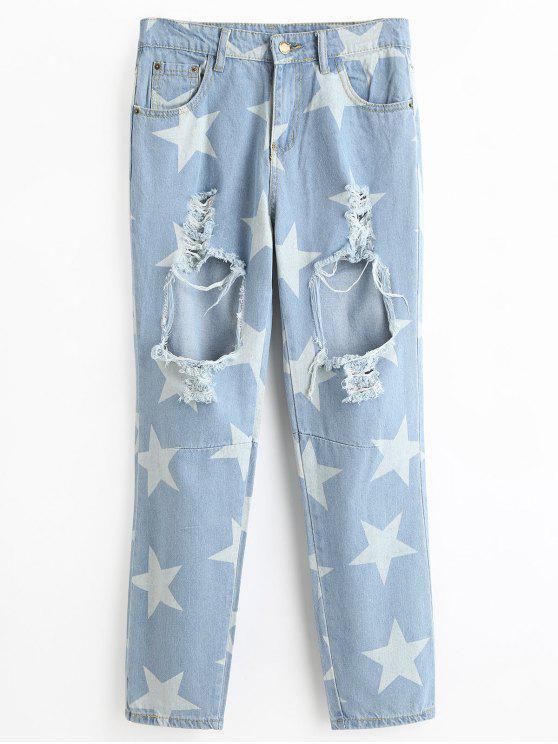جينز ممزق ذو فتحات طباعة النجمة - الضوء الأزرق S