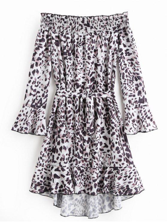 Schulterfreies Flare Ärmel Leopard Gürtel Kleid Leopard Druck ...