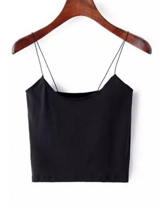 d7cc27abb6c6f4 25% OFF   HOT  2019 Plain Cropped Spaghetti Strap Tank Top In BLACK ...
