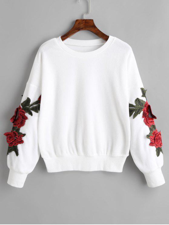 lady Floral Appliques Drop Shoulder Sweatshirt - WHITE S