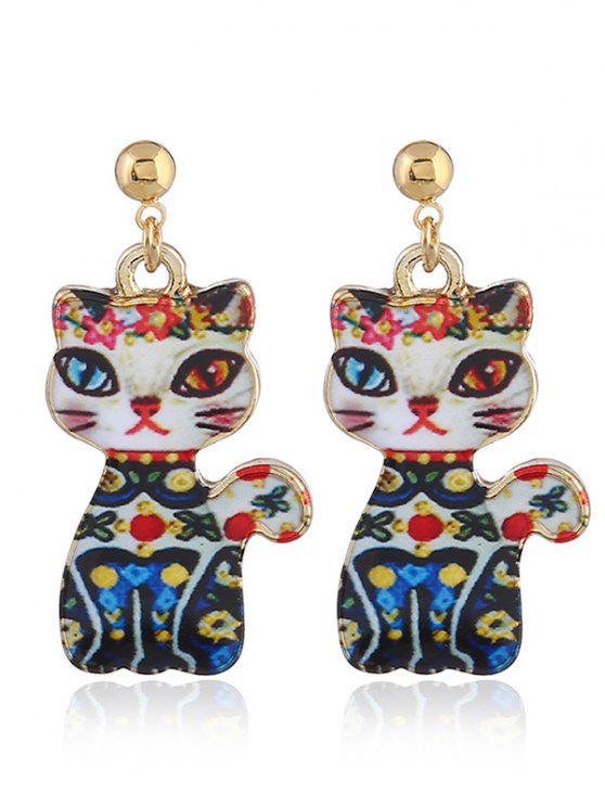 Lustige Legierung Kätzchen Ohrringe - Blau